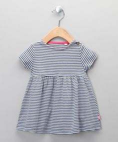 Navy & Ecru Stripe Nautical Organic Dress by Kite Kids