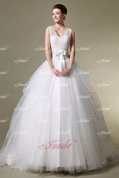 http://www.weddingstuff2014.com Princess Tulle Ball Gown Wedding Dress with Sheer Straps JSWD0213