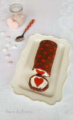 rotolo farcito romantico per san valentino Valentines Baking, Valentines Day Cakes, Mini Desserts, Delicious Desserts, Swiss Roll Cakes, Cake Roll Recipes, Food Flatlay, Patterned Cake, White Chocolate Cheesecake