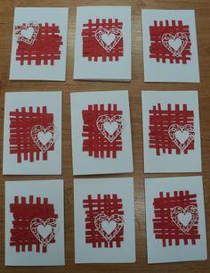 Srdce - přání s propleteným podkladem