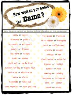 items similar to wedding shower game bachelorette party game bridal trivia game western Wedding Shower Games, Bridal Shower Favors, Shower Party, Bridal Showers, Country Wedding Games, Country Style Wedding, Country Weddings, Albion Fit, Bachlorette Party
