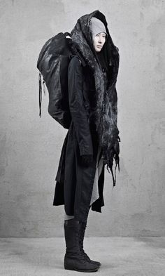 | Post-apocalyptic Avant-Garde Fashion | #fashion #clothing #woman #backpack #coat #scarf #shoes #leather