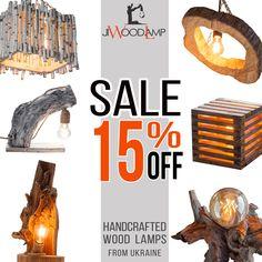 Wood lamps, Rustic light, Loft lighting, Pendant lights by JIWoodLamp Rustic Lamps, Rustic Lighting, Rustic Decor, Handmade Lamps, Handmade Home Decor, Handmade Gifts, Driftwood Lamp, Wooden Lamp, Turquoise Glass