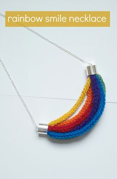 Use crochet or knitted i-cord to make a fun, bright necklace.