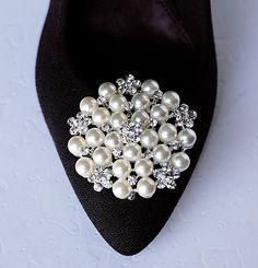Bridal Shoe Clips Pearl Crystal Rhinestone Shoe Clips by LXdesigns