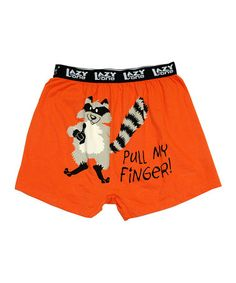 Orange 'Pull My Finger' Boxers by Lazy One