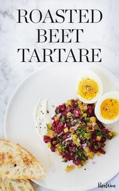 Roasted Beet Tartare via Vegetarian Recipes Easy, Cooking Recipes, Healthy Recipes, Vegetarian Appetizers, Vegetarian Food, Summer Recipes, Fall Recipes, Party Recipes, Clean Eating