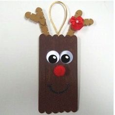 cute diy reindeer popsicle stick christmas ornament.
