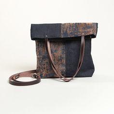 Denim fold-over tote bag. Tote and shoulder bag in by TatinBags