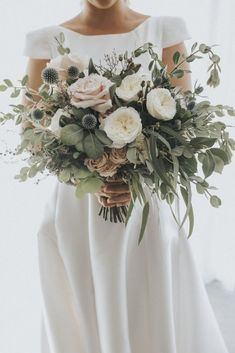 Stunning blush greenery wedding bouquets with thistles. diy bouquet 35 Trending Floral Greenery Wedding Ideas for 2019 Sage Wedding, Floral Wedding, Wedding Colors, Wedding Day, Burgundy Wedding, Summer Wedding, Thistle Wedding, Wedding Table, Wedding Ideas Green