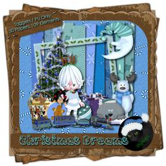 """Christmas Dreams - Christmas themed digital taggers kit composed of 30 (800 x 800 pixel, .jpg) papers and 109 .png elements, includes 3 """"Santa's Lil Helper"""" posers by ©Perfect Posers. 300 DPI.  Personal use only."""