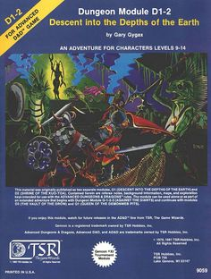 D1-2 Descent into the Depths of the Earth (1e) | Book cover and interior art for Advanced Dungeons and Dragons 1.0 - Advanced Dungeons & Dragons, D&D, DND, AD&D, ADND, 1st Edition, 1st Ed., 1.0, 1E, OSRIC, OSR, Roleplaying Game, Role Playing Game, RPG, Wizards of the Coast, WotC, TSR Inc. | Create your own roleplaying game books w/ RPG Bard: www.rpgbard.com | Not Trusty Sword art: click artwork for source