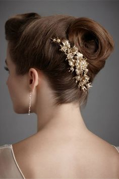 BHLDN Debra Moreland Titian Antique Gold Pearl Headpiece