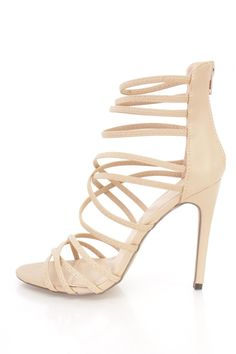 Faux leather upper with an elastic strappy design, open toe, stitched trim, back zipper closure, smooth lining, and cushioned footbed. Approximately 4 1/2 inch heels. Spring Shoes, Summer Shoes, Nude Heels, Stiletto Heels, High Heel Pumps, Pumps Heels, Prom Shoes, Dress Shoes, 2 Inch Heels