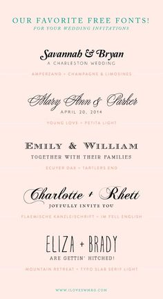 our favorite free font combinations for wedding invitations! by roserie