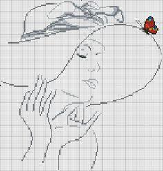 cross stitch chart (no other info) Cross Stitch Silhouette, Cross Stitch Art, Counted Cross Stitch Patterns, Cross Stitch Designs, Cross Stitching, Cross Stitch Embroidery, Embroidery Patterns, Hand Embroidery, Portrait Au Crayon