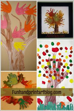 Fall Handprint Crafts - Trees & Leaves