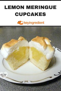 Lemon meringue cupcakes are hollowed out then filled with tangy lemon filling and topped with meringue.