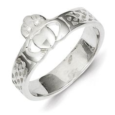Sterling Silver Casted Claddagh Ring by Versil (Size 8), Women's, White (solid)