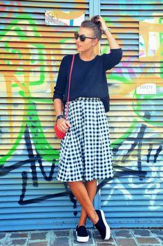 welcome to my world: Black White, midi skirt, slip-ons, primark,  red bag