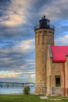 Mackinac Island Lighthouse and Bridge. Just moments away from the island. The lighthouse is actually in Mackinaw City, Michigan Mackinaw City, Mackinac Bridge, Michigan Travel, Michigan Usa, Mackinac Island, Great Lakes, Belle Photo, Architecture, Strand
