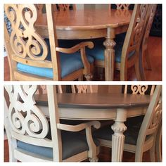 Dining Table and chairs Valspar Chalky Finish Paint Top: Opera Gown, antiqued Chairs/bottom: Moonstone Ring, antiqued Chairs/bottom: two paint coats, clear wax, antique wax Table top: two paint coats, two clear wax coats, one antique coat, one clear wax coat