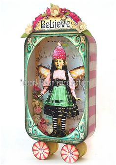 I think a few changes and would be cute to use my granddaughter's photo.*BeLieVe* FaiRy aLTeReD aRt CoLLaGe TiN Altered Tins, Altered Art, Paper Art, Paper Crafts, Diy Crafts, Paper Dolls, Art Dolls, Art Antique, Tin Art