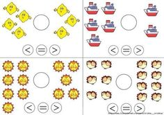 Færre end, lig med, flere end, Counting Worksheets For Kindergarten, Math Literacy, Guided Math, Math Classroom, Math Worksheets, Teaching Math, Preschool Activities, Math Help, Learning Numbers