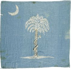 This hand-painted South Carolina flag, which is the size of a handkerchief, was flown during the April 1861 Confederate assault on Fort Sumter.