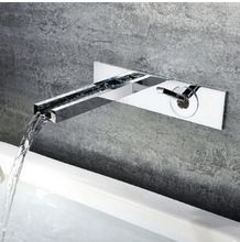 new arrival top high quality brass material unique design hot and cold in-wall bathroom basin waterfall faucet sink mixer(China (Mainland))