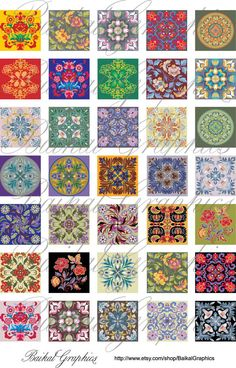 Classic chinese Patterns mixed Art flowers birds Digital Collage Sheet square 1x1 inch. Printable images for pendants cabochon button 039. $3.50, via Etsy.