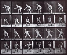 large profile and front views of nude male catching then throwing a baseball animation reference using muybridge plate 283 from animal locomotion