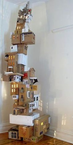recycled box town tower installation activity for creative teens and tweens (love the light inside!)