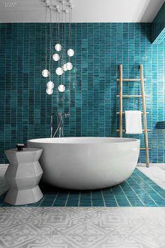 "Interior Design Magazine ( ""When designing the Yamu Resort by COMO in Phuket, Thailand, sourced everything…"" Modern Bathrooms Interior, Bathroom Design Luxury, Bath Design, Green Bathrooms, Turquoise Bathroom, Luxury Bathrooms, Bathroom Modern, Small Bathroom, Bad Inspiration"