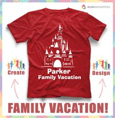Family vacation custom t-shirt design idea's! Create awesome vacation custom t-shirts for your family next trip! Free Graphic Design! www.rushordertees.com #FamilyVacation
