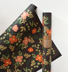 Midnight Floral Set of 3 rolled wrapping sheets