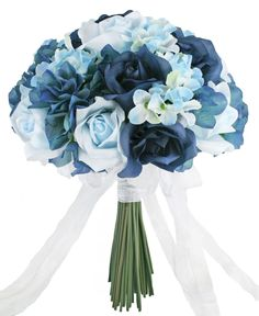 Hydrangea Rose Navy Light Beach Blue Hand Tie Medium - Silk Bridal Wedding Bouquet - TheBridesBouquet.com