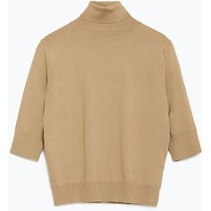 Zara Cropped Sweater (52 CAD) ❤ liked on Polyvore featuring tops, sweaters, camel, brown sweater, zara top, crop top, cropped sweater and brown crop top