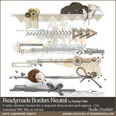 Readymade Borders Neutral - Digital Scrapbooking Elements DesignerDigitals