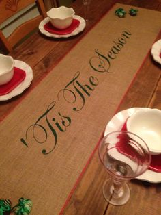 "Burlap Table Runner 12"", 14"", & 15"" wide with 'Tis The Season - Christmas runner Holiday decorating Home decor Party runner by CreativePlaces on Etsy"