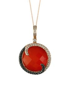 Red agaite with black and white pave diamonds