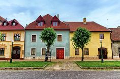 Colorful Old Houses In Kezmarok, Slovakia by Elenarts - Elena Duvernay photo Famous Places, Old Houses, Travel Photos, Fine Art America, Mansions, House Styles, Beautiful, Color, Home Decor