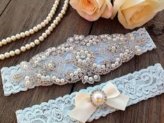 Awesome something blue idea: lacey little garters with plenty of bling and bow details!