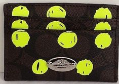 Coach Card Case Dot Print Brown Neon Yellow 63237SVDLP *** Check out this great product.