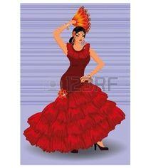 bailando flamenco: Españoles flamenco chica bailarina con ventilador, ilustración