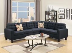 This 4 Pieces Sectional Can Be An Elegant Inclusion In Sitting Of Any Living Room. Fusing The Contemporary And Classic Design With This Collection Of 4 Piece Modular Sectionals Covered In Soft Linen. Modular Sectional Sofa, Reclining Sectional, Corner Sectional, Black Sectional, Modern Rustic Interiors, Furniture Deals, Sofa Set, Living Room Furniture, Lounge Furniture