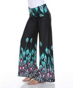Look at this #zulilyfind! Teal Peacock Palazzo Pants #zulilyfinds