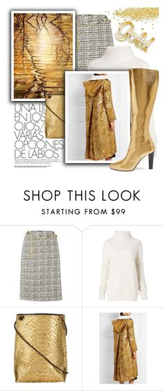 """Gold.We all love gold."" by samketina ❤ liked on Polyvore featuring Tahari by Arthur S. Levine, Diane Von Furstenberg, B.May, Prada and Yves Saint Laurent"