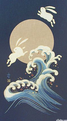 Bunnies too cute, waves are nice though rabbit over moon :: noren