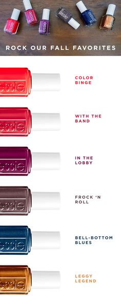 Fall is right at your fingertips with these seriously saturated colors from essie. Inspired by rock 'n' roll's many muses, these nail polish colors take center stage. From top to bottom: Color Binge, With the Band, In the Lobby, Frock 'N Roll, Bell-Bottom Blues, and Leggy Legend.